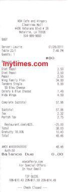 Receipt using Restaurant.com